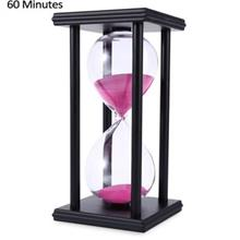 HOURGLASS SAND TIMER 60 MINUTES WOOD SAND TIMER FOR KITCHEN OFFICE SCHOOL DECO