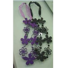 04296 100% Real Shot Korean Carvings Of Flowers Long Necklace