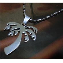 Palm Coconut Tree 316L Stainless Steel Pendant Chain