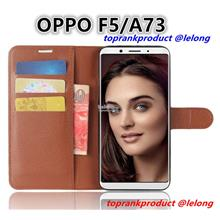 OPPO F5 A73 Flip Card Slot Stand Silicone PU Leather Case Cover Casing