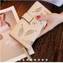 Women's Long Leaf Bifold Wallet Leather Hollow Card Holder Purse