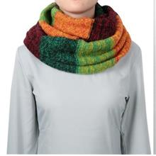 HAN EDITION COLOR BLOCK THICKENING KNITED WOOL WOMEN SCARF (GREEN + CL