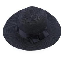 SOLID COLOR SUMMER LADIES BOW WIDE STRAW PLAITING HAT (#5)