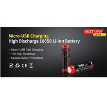 Klarus 18650 Li-ion 3600mAh 10A Micro USB Rechargeable Battery