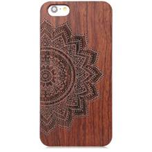 EMBOSSED WOOD FRAME STYLE BACK COVER CASE FOR IPHONE 6 PLUS / 6S PLUS (DEEP BR