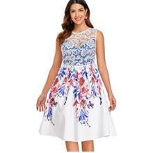 A Line Printed Cocktail Dress (WHITE)