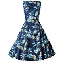 Lady Chic Pineapple Flowers Waisted Boat Neck Sleeveless Dress for Women (BLUE