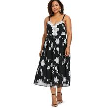 Plus Size High Waisted Floral Cami Dress (BLACK)