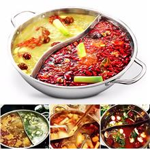 Stainless Steel Twin Dual Side Hot Pot Cookware Shabu Shabu Cooker Hot