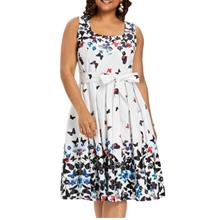 Plus Size Butterfly Print A Line Women Dress with Belt (WHITE)
