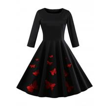 Butterfly Embroidery Vintage Dress (BLACK)