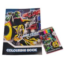 TRANSFORMERS TRID COLORING BOOK WITH COLOR PENCIL SET