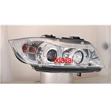 BMW E90 05-09 4D LED Ring Projector Head Lamp [CHROME] 1-pair