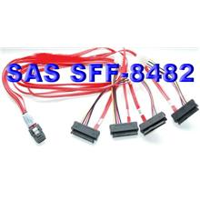 MiniSAS SFF-8087 to (4) SFF-8482 29pin SAS Drive cable with 4-pin Powe