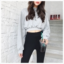 Women's Solid Color Student Hooded Long Sleeved Casual Sweater