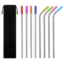 Reusable Stainless Steel Drinking Straws with Silicone Tips Cleaning Brush (SI