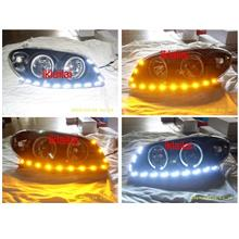 Toyota Vios `03 LED Ring Crystal Head Lamp Black 2-Function DRL