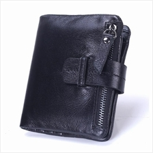 Men Genuine Cow Leather Short Wallet Purse (Black / Dark Brown)