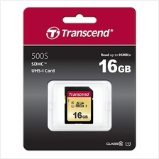 TRANSCEND 16GB SD HC10 500S UHS-1 U1 (95MB/60MB) MEMORY CARD (TS16GSDC500S)