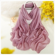 Muslim Tudung/Scarf New Spring Natural Linen Solid Color Shawl
