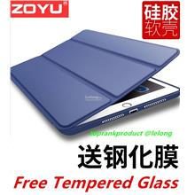 iPad 2017 2018 9.7 A1822 Flip Smart Case Cover Casing + Tempered Glass