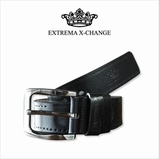 EXTREMA BIG  & TALL PINK BUCKLE LEATHER BELT EB42 (Black)
