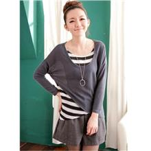 03419 Stripes Spell Color Stitching Fake Two-Piece Long-Sleeved Shirt