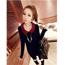 03301 The Hot Sweetie Retro Spell Color Burgundy Collar Black Shirt