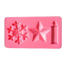 AK CHRISTMAS CANDLES STARS SNOWFLAKE CAKE DECORATING SILICONE MOULDS S..