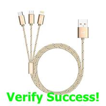 Authentic MCDODO CA-164 3in1 1.2m Woven Fabric Cable iPhone X 8 ~2.1A