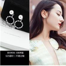 Star Favourite~ Diamond Pearl Earrings (Circle)