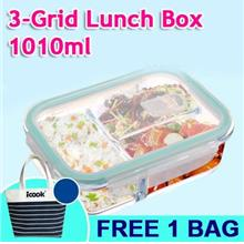 Rectanglular Glass Lunch Box with 3 Divider 1010ml (Free Bag)
