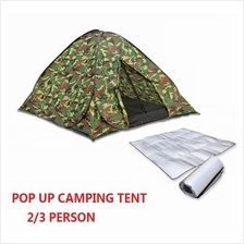 Pop Up Auto Camping Tent 2/3 Person Portable Travel Tent Khemah Pantai