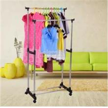 Double Rod Stainless Steel Garment Racks Clothes Hanger