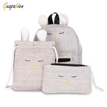 Guapabien 3pcs Cotton Cute Women Girls Backpack Shoulder Crossbody Bag Wristle