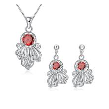 S111-B 925 SILVER PLATED NECKLACE EARRINGS JEWELRY SETS (RED)