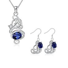 S131-A 925 SILVER PLATED NECKLACE EARRINGS JEWELRY SETS (BLUE)