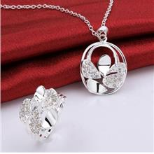 STYLISH ROUND EMBELLISHED HOLLOW OUT NECKLACE + SPLICED RIMG FOR WOMEN (WHITE)