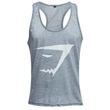 ACTIVE SCOOP COLLAR PRINTED COTTON BLEND RACERBACK GYM TANK FOR MEN (GRAY)