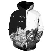 9689c2c54e66 HOODED 3D COLOR BLOCK TREE PRINT PULLOVER HOODIE (COLORMIX)