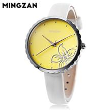 MINGZAN 6107 WOMEN QUARTZ WATCH FLOWER PATTERN DIAL LEATHER STRAP FEMALE WRIST