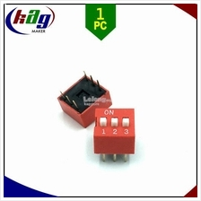 DIP Switch 3P 2.54mm - Red