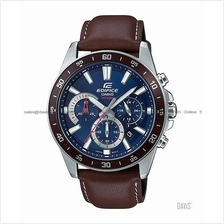 CASIO EFV-570L-2AV EDIFICE chronograph date leather strap blue brown
