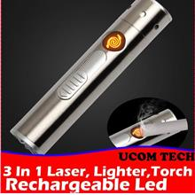 3 In 1 Laser, Lighter Torch Light Pen Multi Function Rechargeable Torc