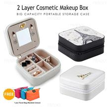 2 Layer Portable Cosmetic Makeup Organizer Box Jewelry Storage Case 11