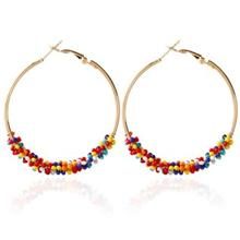 BOHEMIA BEAD ROUND HOOP EARRINGS FOR WOMEN (COLORFUL)