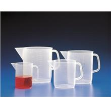 PP jug with handle and spout, low form, moulded graduation, 1000 ml