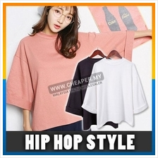 Korean Version Hip Hop Solid Color Seven-Point Sleeve T-shirt Loose Fr