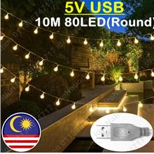 【USB】80LED 10M Round Battery AA LED String Fairy Light C..