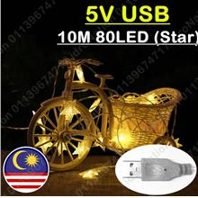 【USB】80LED 10M Star Battery AA LED String Fairy Light Ch..